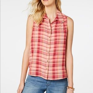 Style & Co. Plaid Sleeveless Top